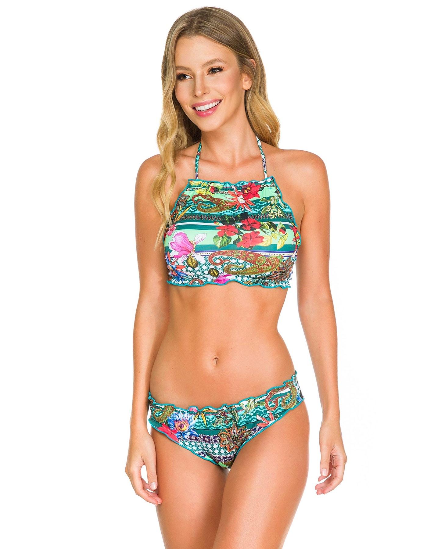 Bikini Crop Top floral anudado en cuello y espalda + Braguita floral Reversible C
