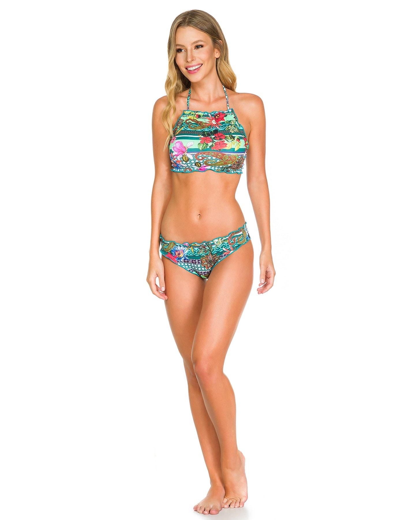 Bikini Crop Top floral anudado en cuello y espalda + Braguita floral Reversible F