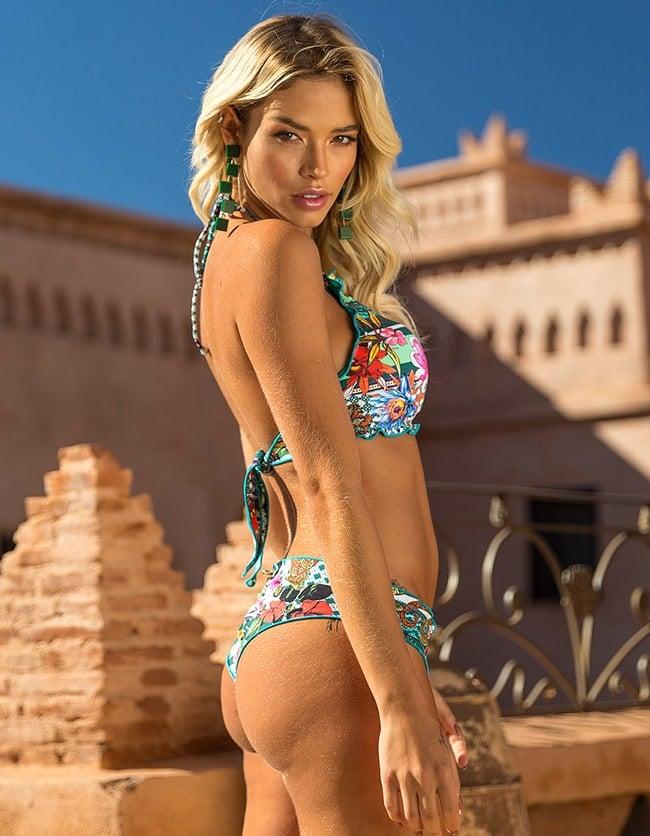 Crop Top Bikini floral anudado en cuello y espalda B