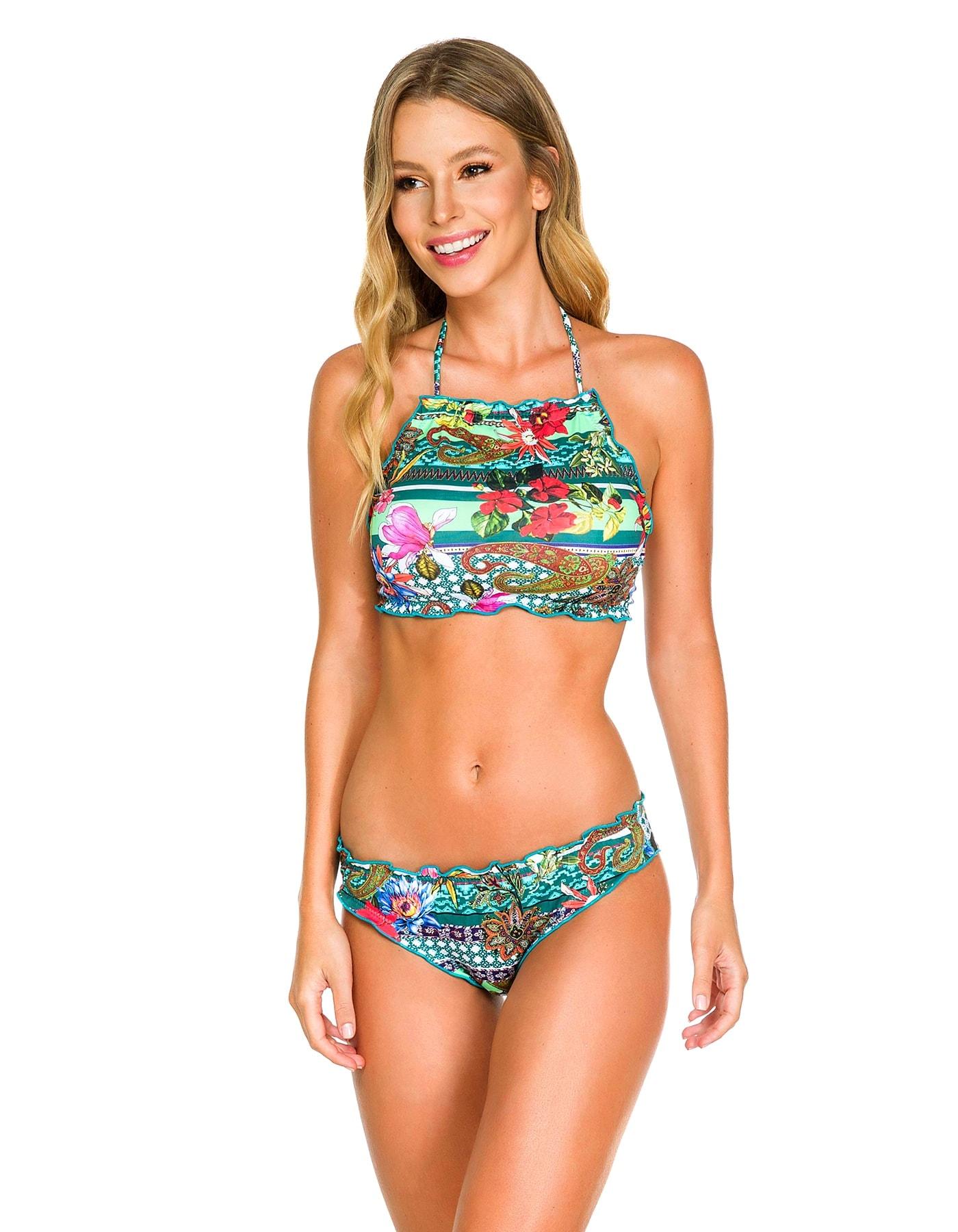 Crop Top Bikini floral anudado en cuello y espalda C