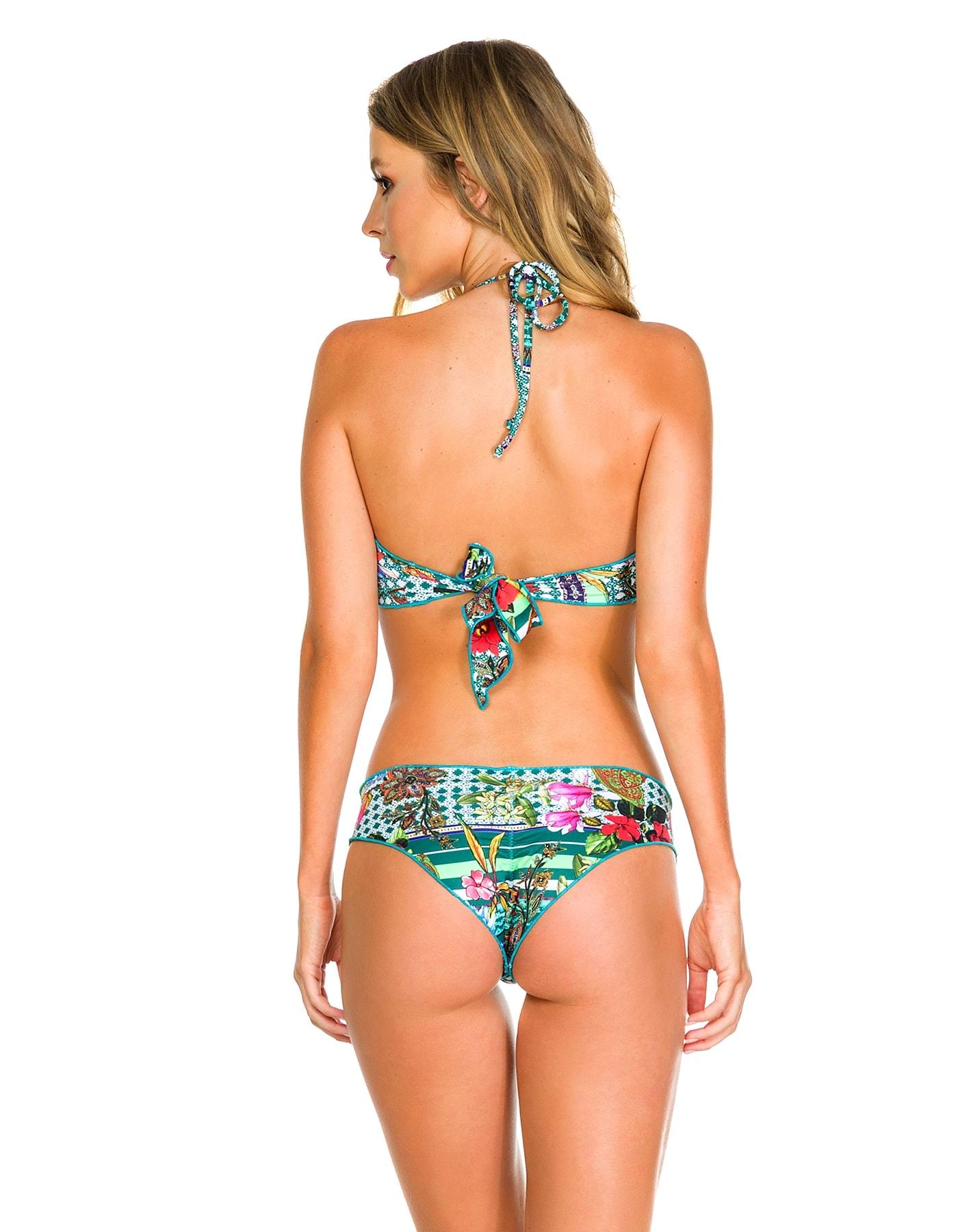 Crop Top Bikini floral anudado en cuello y espalda E