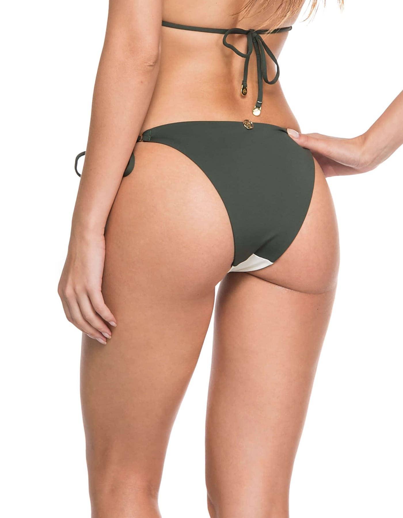 Bikini triángulo con dueto de telas y Oro + Braguita Bikini scrunch reversible con dueto de telas y Oro | Duo I