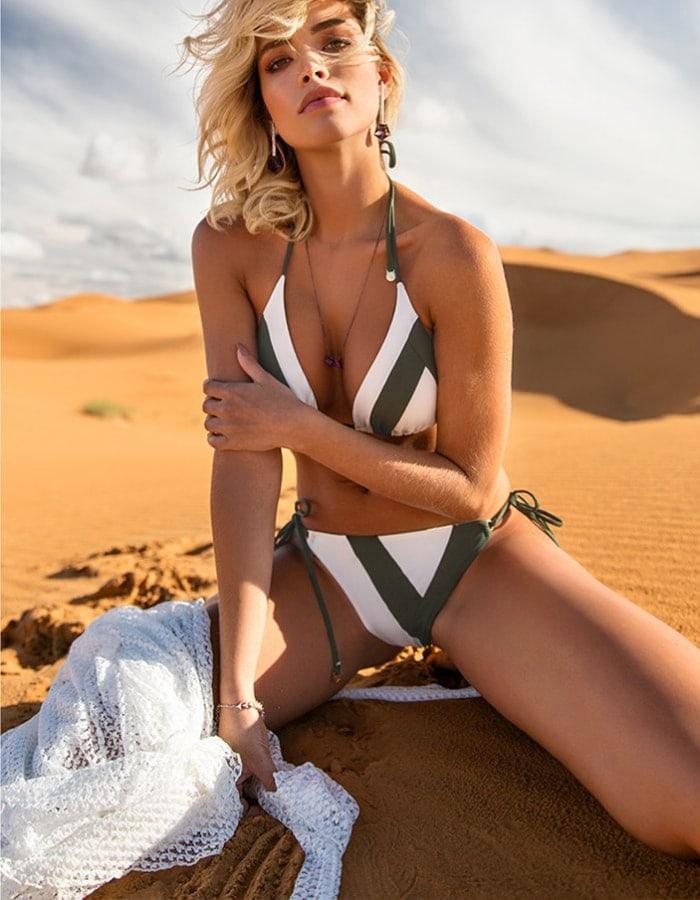 Bikini triángulo con dueto de telas y Oro + Braguita Bikini scrunch reversible con dueto de telas y Oro | Duo