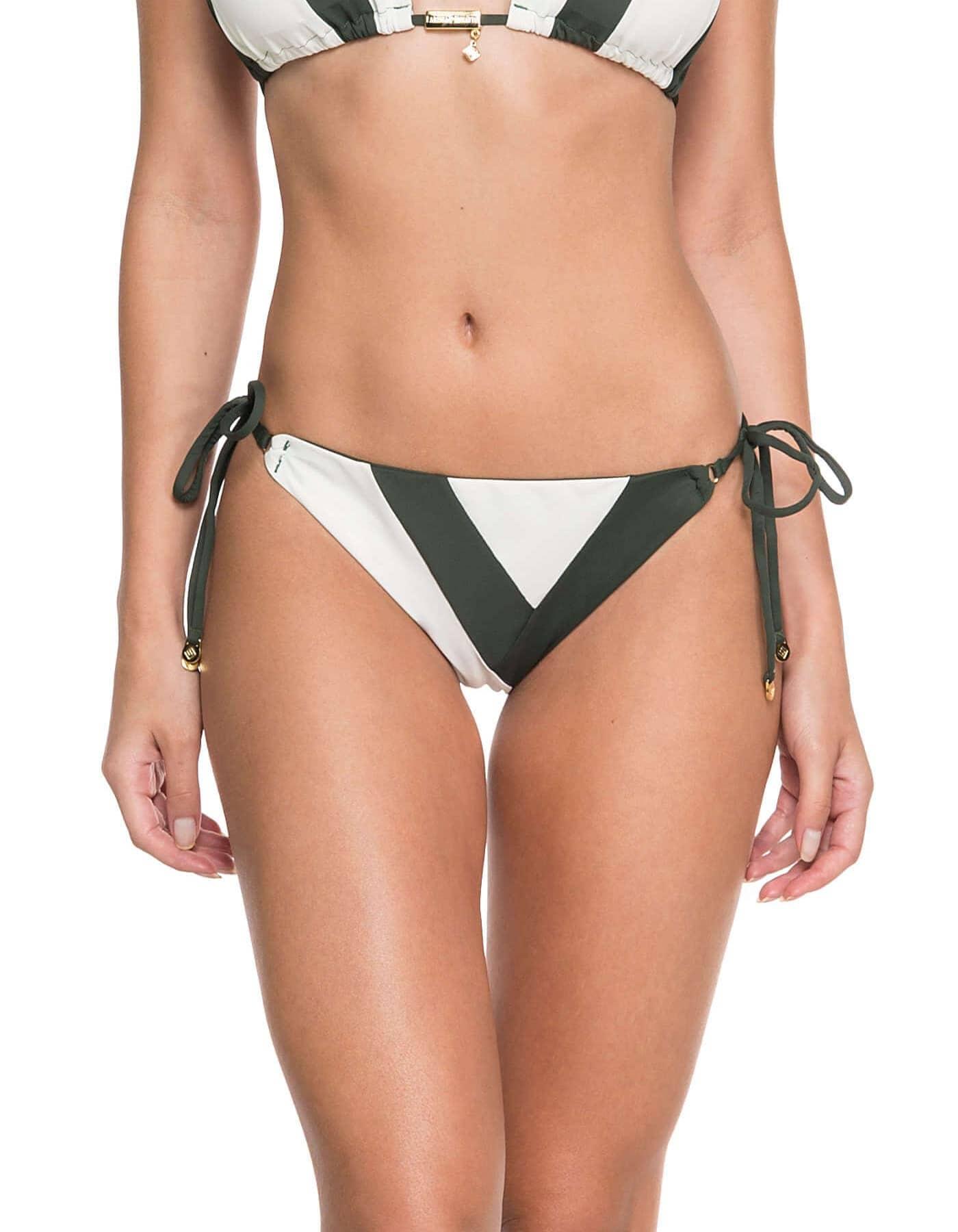 Top Bikini triángulo con dueto de telas y Oro | Duo F