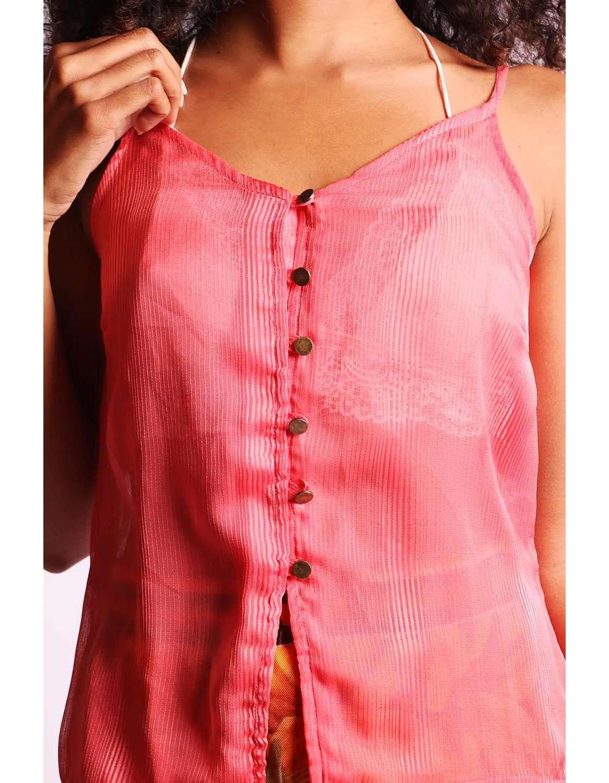Blusa transparente plisada de verano azul o rosa sin mangas y con botones Malagueta-72377MAL-E