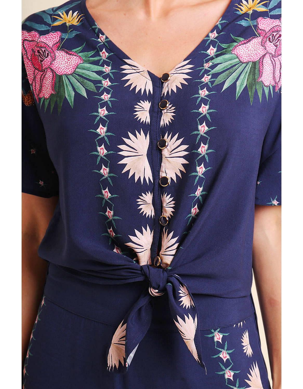 Blusa verano azul o roja manga corta y botones con anudado en cintura Malagueta-72366MAL-A