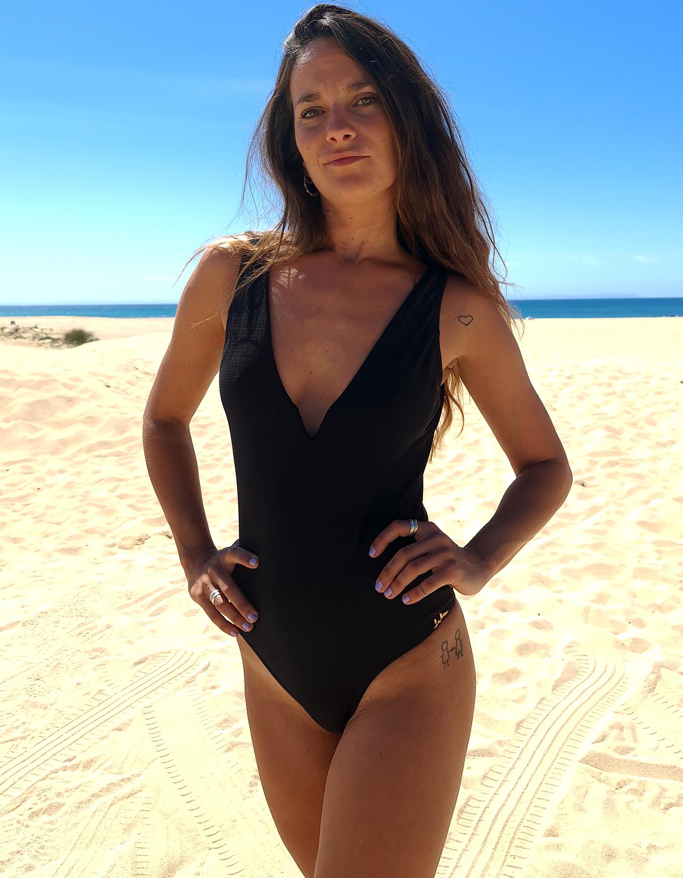 Body Bañador Negro con escote en V Lua Morena-33444002-C
