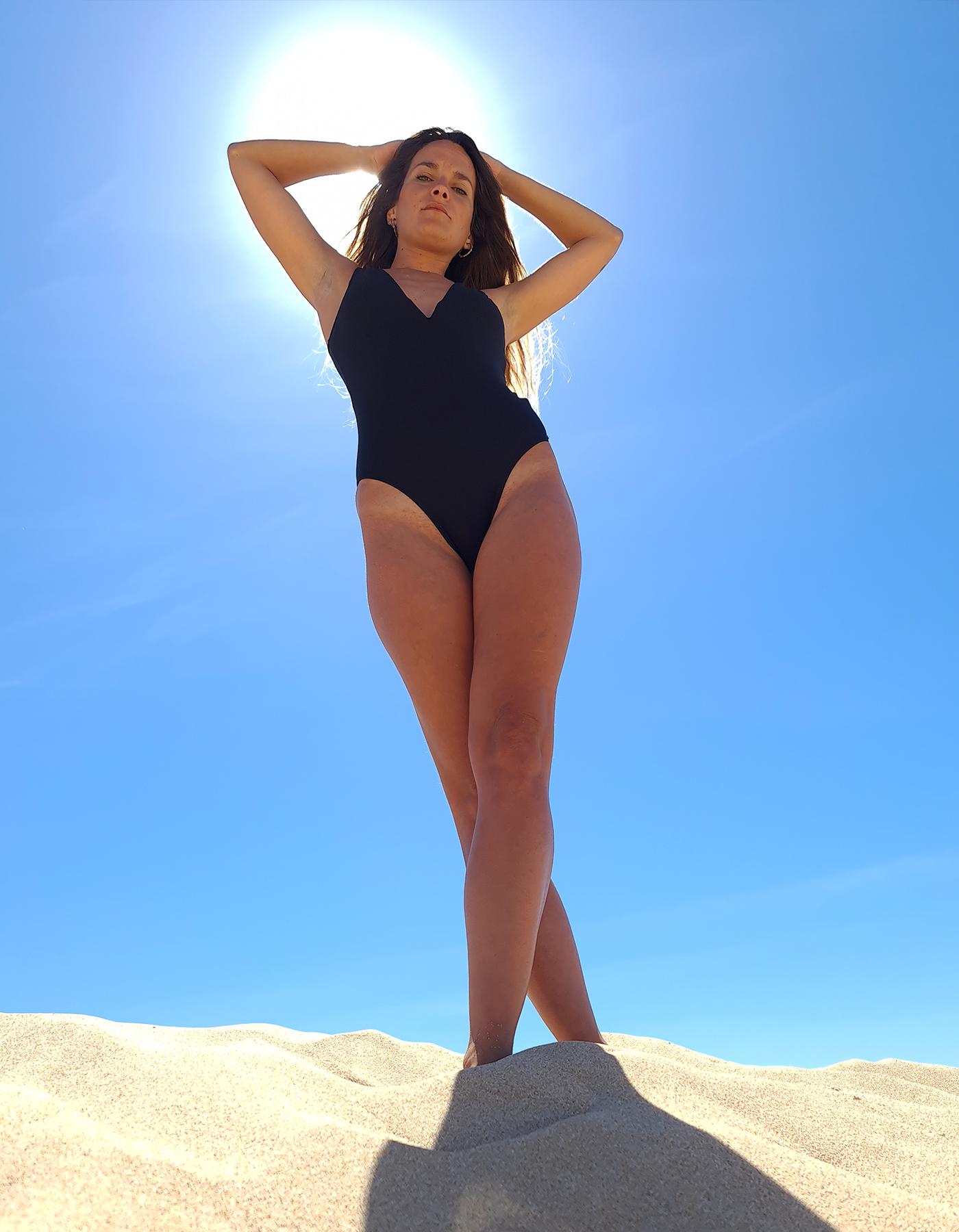 Body Bañador Negro con escote en V Lua Morena-33444002-E