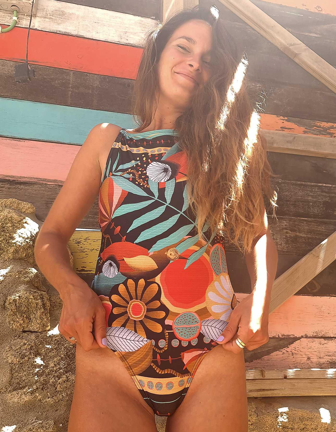 Body Bañador estampa noche tropical y espalda al aire | Lua Morena