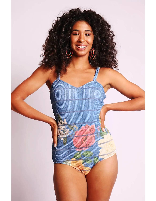 Body mujer amarillo o azul estampa floral y tirantes Malagueta-72404MAL-B