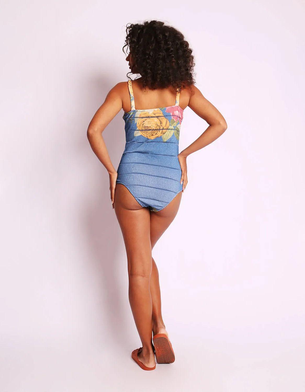 Body mujer amarillo o azul estampa floral y tirantes Malagueta-72404MAL-C