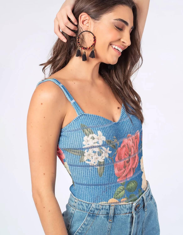 Body mujer amarillo o azul estampa floral y tirantes Malagueta-72404MAL-D