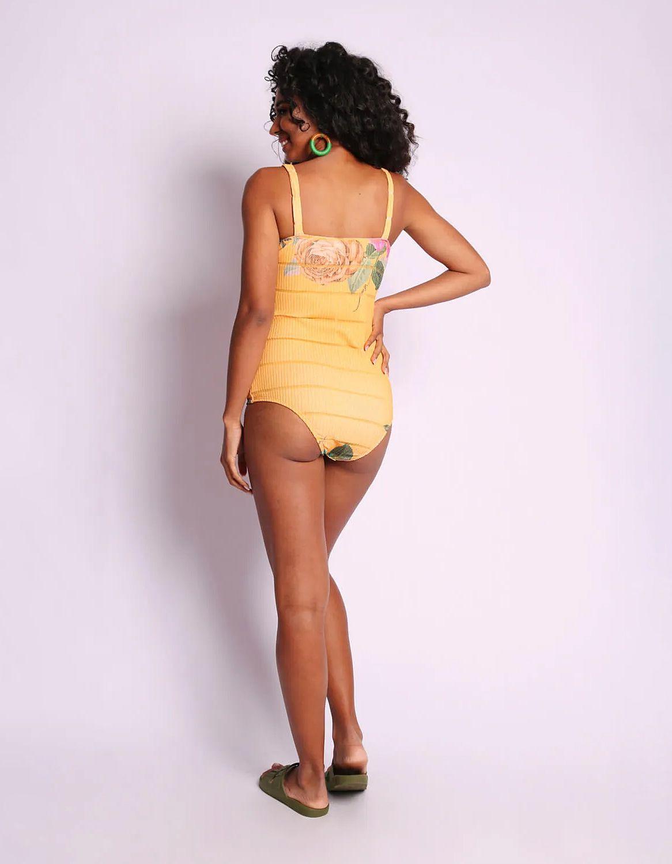 Body mujer amarillo o azul estampa floral y tirantes Malagueta-72404MAL-G