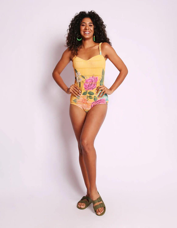 Body mujer amarillo o azul estampa floral y tirantes Malagueta-72404MAL-J