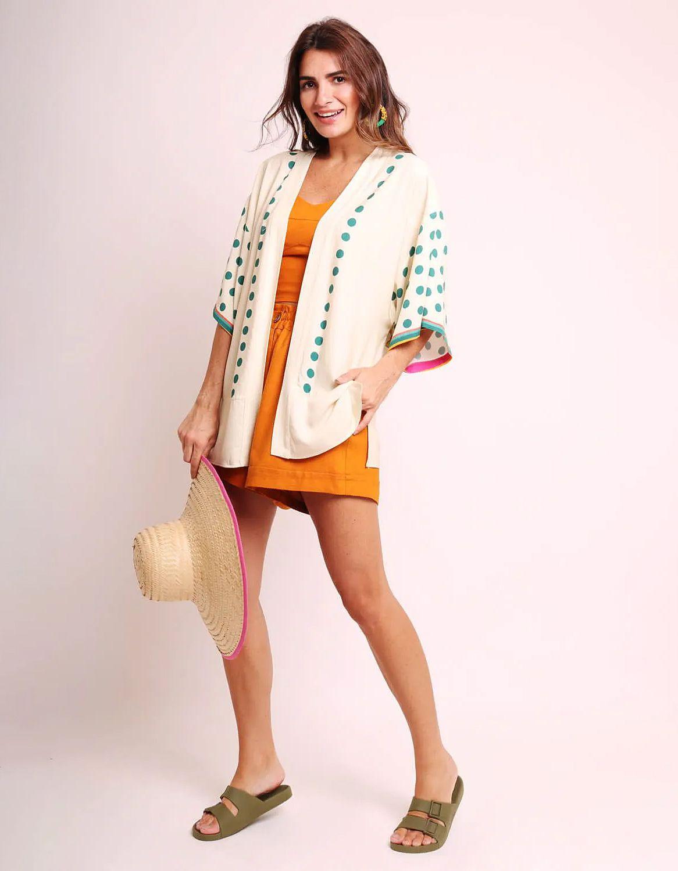 Kimono mujer negro o blanco de verano tipo pareo y estampa tropical Malagueta-72440MAL-E