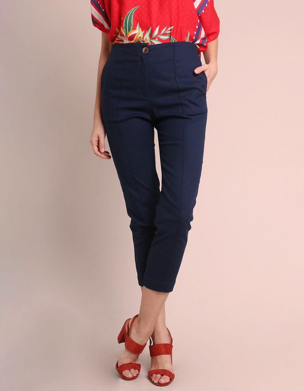 Pantalón Capri algodón marrón, azul oscuro o gris, cremallera frontal y bolsillos laterales Malagueta-72143MAL-A