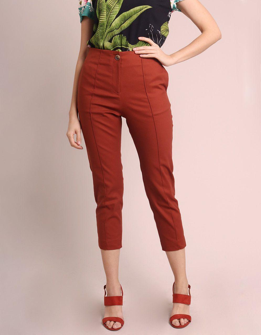 Pantalón Capri algodón marrón, azul oscuro o gris, cremallera frontal y bolsillos laterales Malagueta-72143MAL-E
