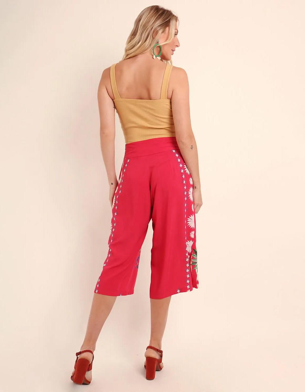 Pantalón Capri verano azul o rojo estampa floral y cremallera lateral ajustable Malagueta-72367MAL-B