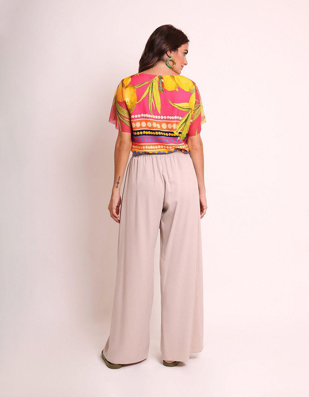 Pantalón largo verano beige, negro o marrón tipo wrap, goma en cintura y cinta ajustable frontal Malagueta-72436MAL-B