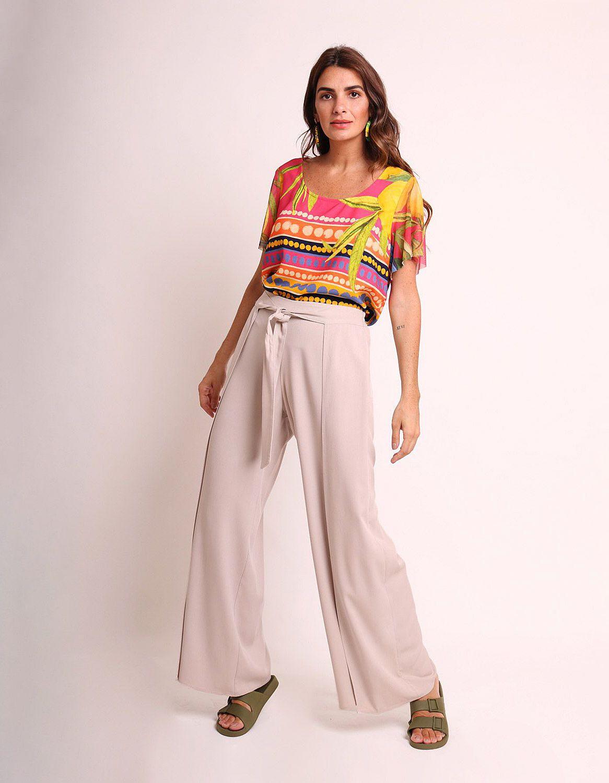 Pantalón largo verano beige, negro o marrón tipo wrap, goma en cintura y cinta ajustable frontal Malagueta-72436MAL-C