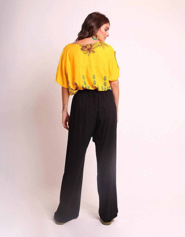 Pantalón largo verano beige, negro o marrón tipo wrap, goma en cintura y cinta ajustable frontal Malagueta-72436MAL-E