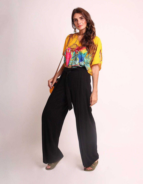 Pantalón largo verano beige, negro o marrón tipo wrap, goma en cintura y cinta ajustable frontal Malagueta-72436MAL-F