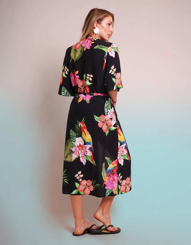 Pareo negro estampado floral y anudado con detalles en cintura Malagueta-72037MAL-C