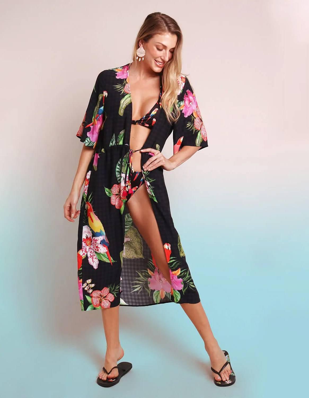 Pareo negro estampado floral y anudado con detalles en cintura Malagueta-72037MAL-D