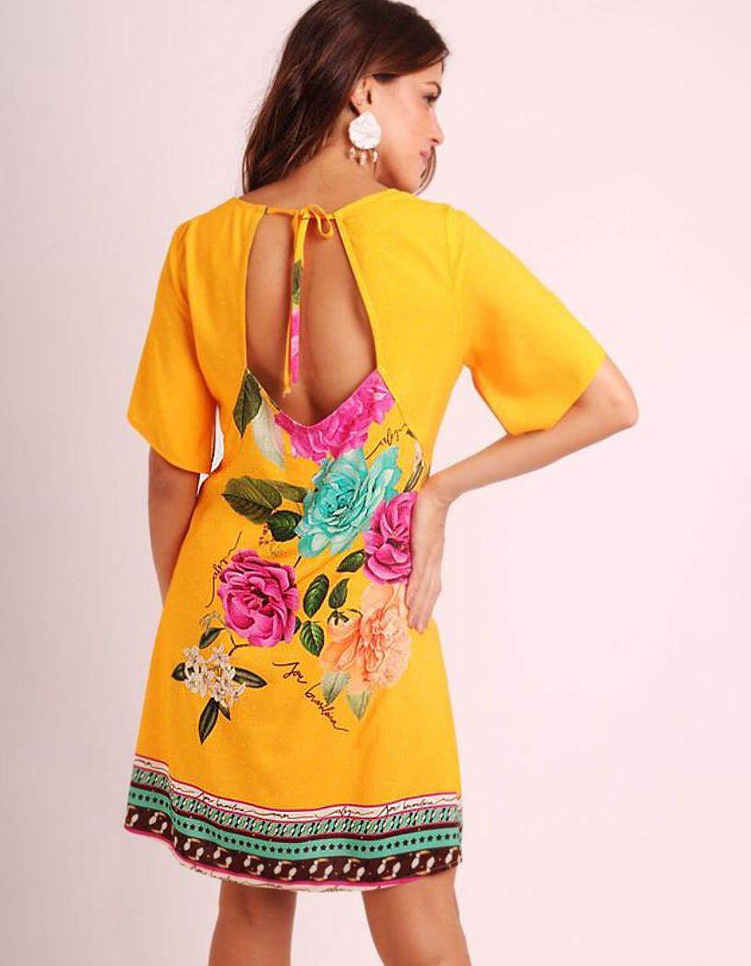 Vestido verano corto azul o amarillo con apertura en espalda y escote cuadrado Malagueta-72400MAL