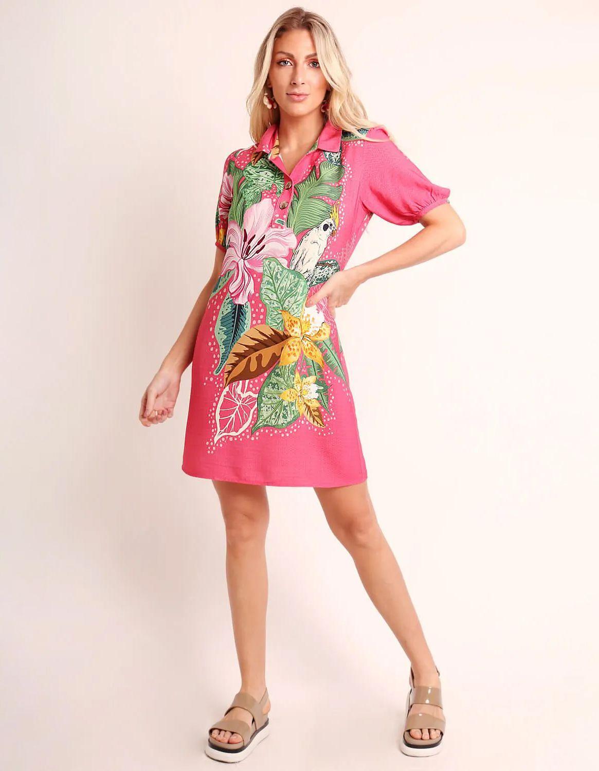 Vestido verano corto azul o rosa con escote en V abotonado | Malagueta