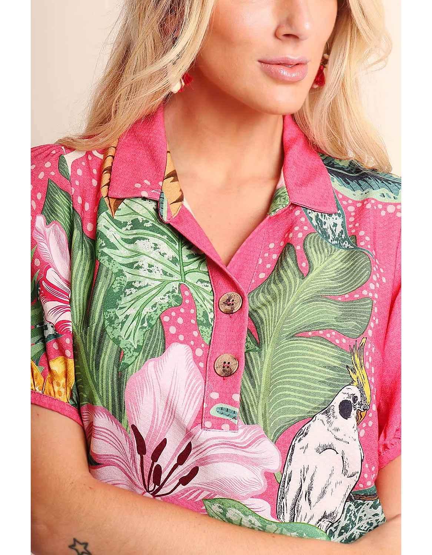 Vestido verano corto azul o rosa con escote en V abotonado Malagueta-72345MAL-B