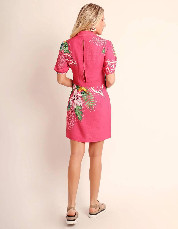 Vestido verano corto azul o rosa con escote en V abotonado Malagueta-72345MAL-C