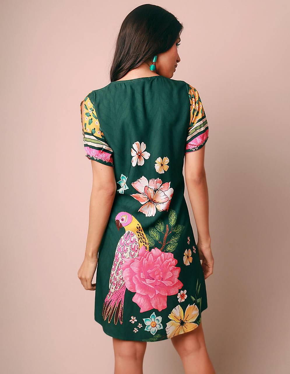 Vestido verano corto blanco o verde escote en V y estampa tropical Malagueta-72051MAL-B