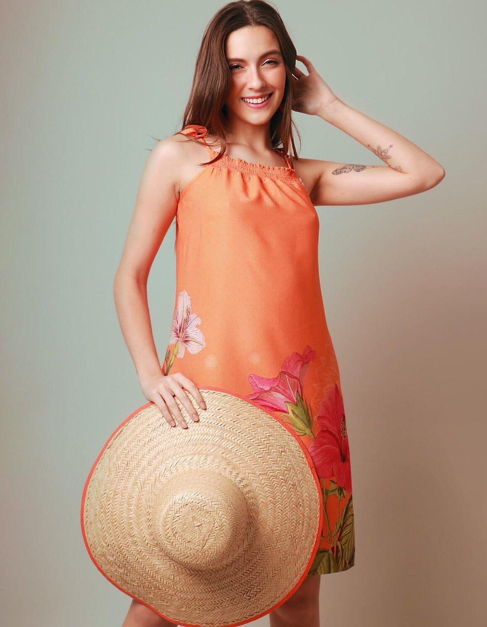 Vestido verano corto naranja de tirantes y escote cuadrado Malagueta-72027MAL