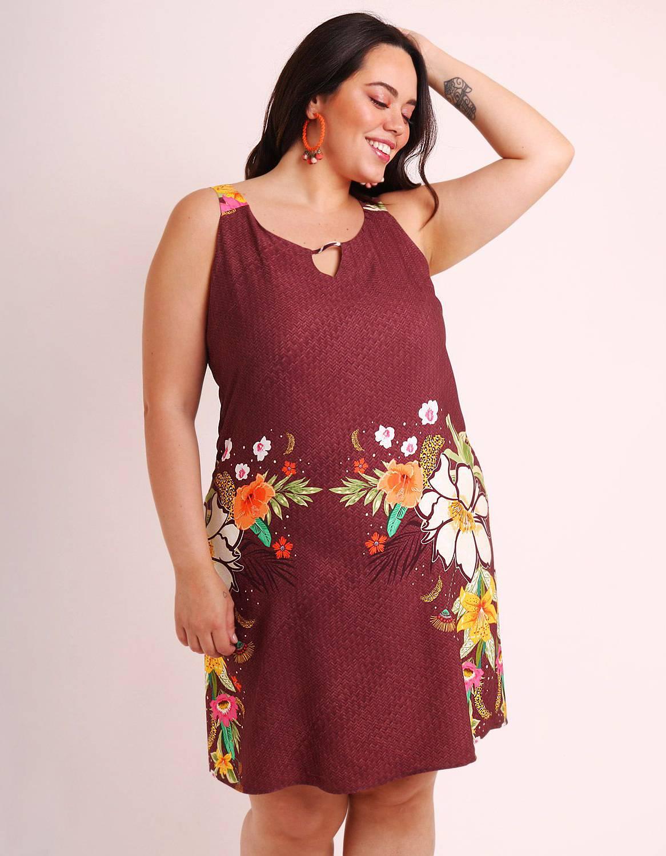 Vestido verano corto talla grande verde o marrón con tirantes y ajustable en espalda Malagueta-57507MAL-A
