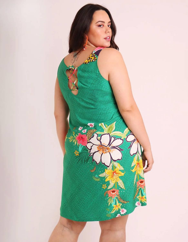 Vestido verano corto talla grande verde o marrón con tirantes y ajustable en espalda Malagueta-57507MAL-D