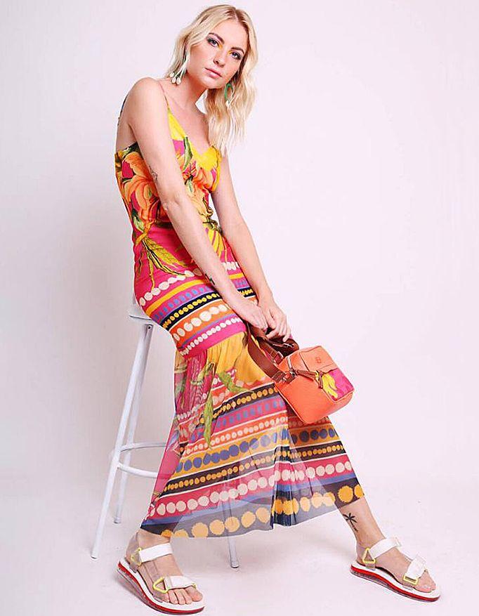 Vestido verano midi amarillo o rosa con tirantes y bajos tul Malagueta-72426MAL-C