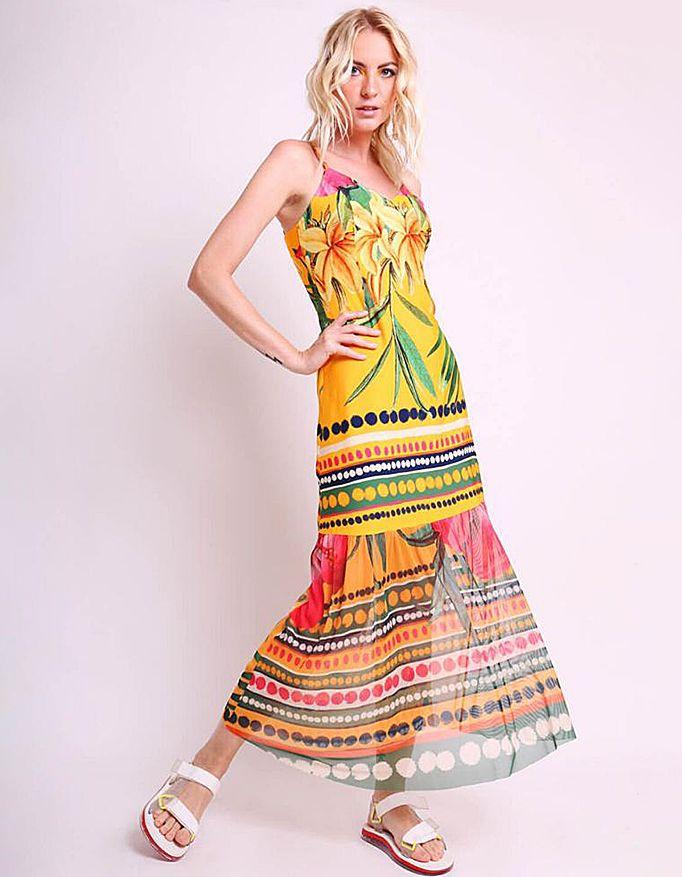 Vestido verano midi amarillo o rosa con tirantes y bajos tul Malagueta-72426MAL-D