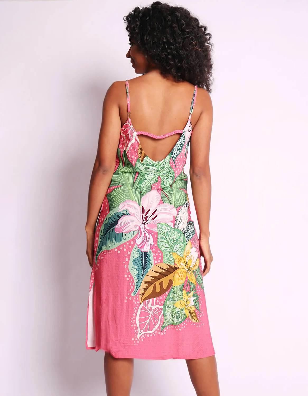 Vestido verano midi azul o rosa con tirantes y espalda abierta Malagueta-72347MAL-C