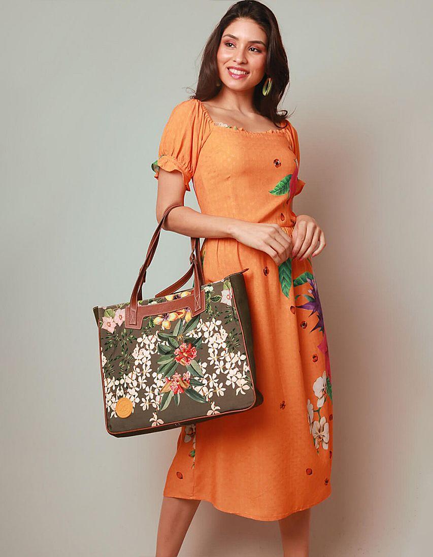 Vestido verano midi naranja y escote cuadrado Malagueta-72055MAL-A