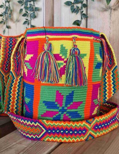 Bolso Wayuu Artesanal, Auténtico y Original (sólo 1 igual) MOTIVOS TRIBALES I