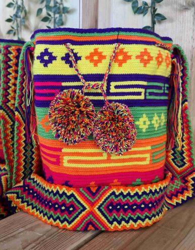 Bolso Wayuu Artesanal, Auténtico y Original (sólo 1 igual) MOTIVOS TRIBALES J