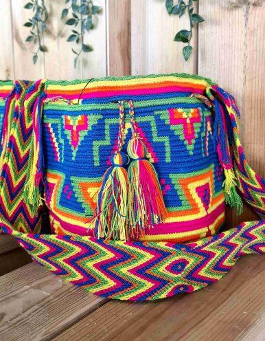 Bolso Wayuu Artesanal, Auténtico y Original (sólo 1 igual) MOTIVOS TRIBALES N